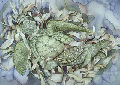 Bekman Wall Art - Painting - Sea Turtles Mum And Babe by Liduine Bekman