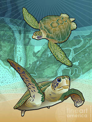 Turtle Digital Art - Sea Turtles Near Beaufort, Sc by Joe Barsin