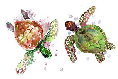 Painting - Sea Turtles, Olive Green Underwater Beach Artwork by Suren Nersisyan