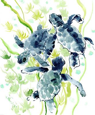 Ocean Turtle Painting - Sea Turtles by Suren Nersisyan
