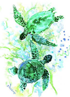 Painting - Sea Turtles Underwater Scene Turquoise Blue Beach Sea World Design by Suren Nersisyan