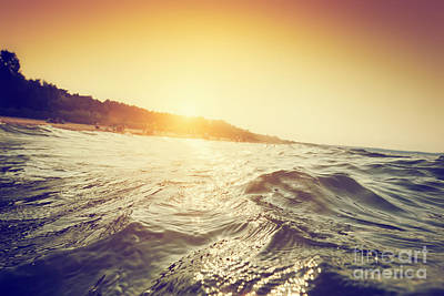 Shore Photograph - Sea Waves And Ripples At Sunset by Michal Bednarek