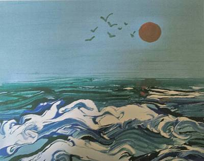 Painting - Sea Waves At Sunset by B L Qualls