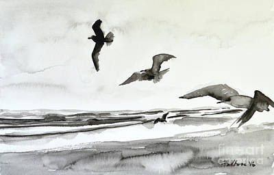Painting - Seabirds In Black And White by Julianne Felton