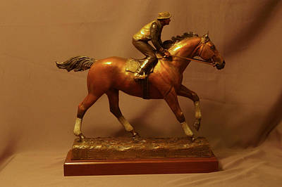 Bronze Horse Sculpture - Seabiscuit Morning Workout With Jockey George Woolf Statue Bronze Racehorse Sculpture by Kim Corpany
