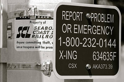 Photograph - Seaboard Cost Line Sign Bw  by Joseph C Hinson Photography