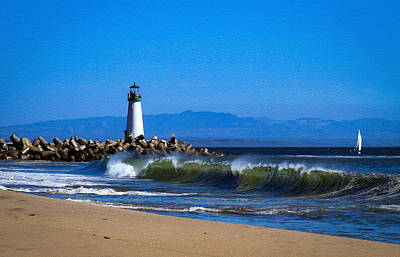 Photograph - Seabright Beach Lighthouse With Surf by Bonnie Follett