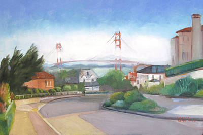 Painting - Seacliff Vision With Golden Gate Bridge In Fog by Suzanne Cerny