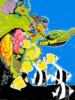 Sea Turtle And Fish At Coral Reef Original