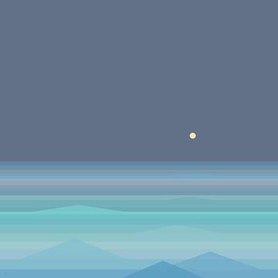 Digital Art - Seafoam Moonrise by Val Arie
