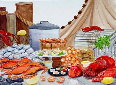Cage Painting - Seafood Feast by Pauline Ross
