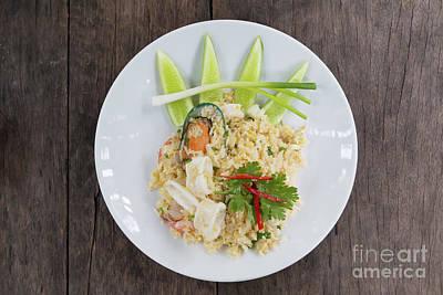 Photograph - Seafood Fried Rice by Atiketta Sangasaeng