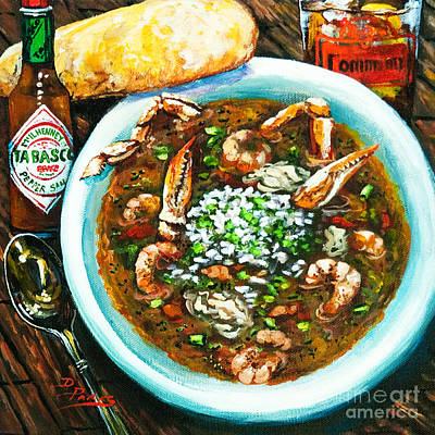 Shrimp Painting - Seafood Gumbo by Dianne Parks