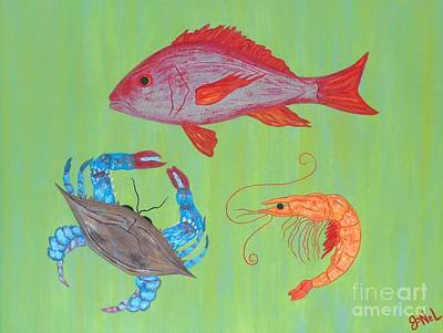 Painting - Seafood Medley by JoNeL Art