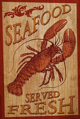 Digital Art - Seafood Sign by WB Johnston