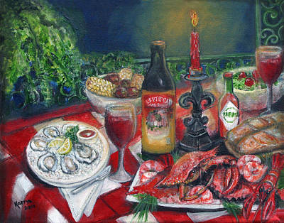 Checked Tablecloths Painting - Seafood Soiree by Karryn Arthur