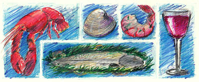 Drawing - Seafood With Wine by Valerie Reeves