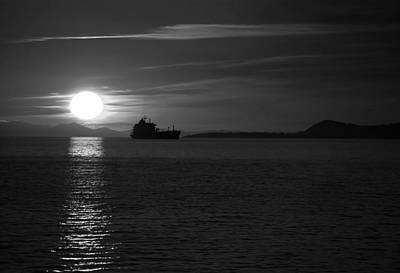 Photograph - Seagoing Ship At Sunset by Dale Stillman