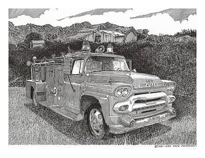 Automotive Drawing - Seagrave Gmc Firetruck by Jack Pumphrey