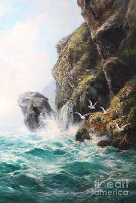 Sea Birds Painting - Seagrit Cliffs by MotionAge Designs