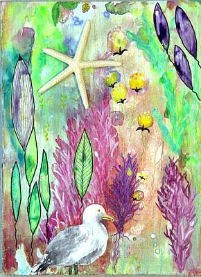 Wall Art - Painting - Seagull And Starfish by Carol Iyer