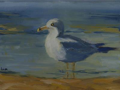 Sandbar Painting - Seagull At Bear Lake by Laurel McFarland
