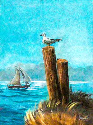 Painting - Seagull At Port Entrance by Nadine Johnston