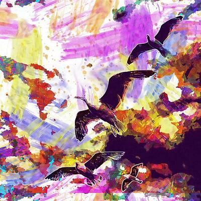 Digital Art - Seagull Bird Beautiful Nature  by PixBreak Art