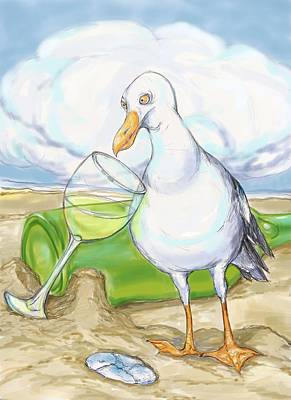 Wine-bottle Drawing - Seagull  Chardonnay by Peggy Wilson