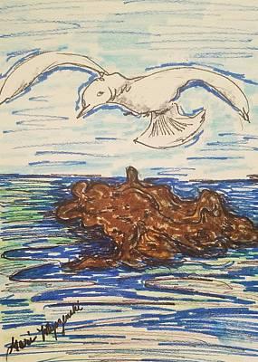 Seagull Flying Print by Geraldine Myszenski
