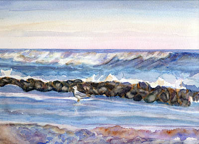 Seagull In The Surf Original by Pamela Parsons