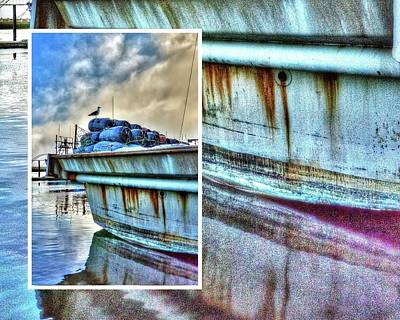 Photograph - Seagull On Stern Collage by Jerry Sodorff