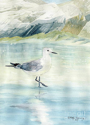 Painting - Seagull On The Beach by Melly Terpening