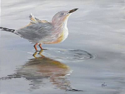 Black Painting - Seagull Water Reflection by Michelle Iglesias
