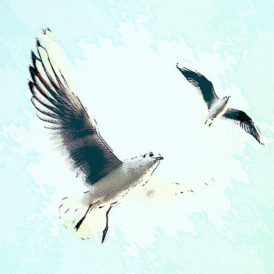 Digital Art - Seagulls by Angela Doelling AD DESIGN Photo and PhotoArt