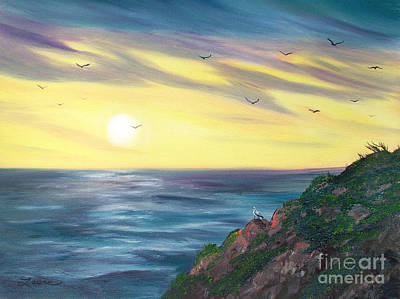 California Seascape Painting - Seagulls At Sunset by Laura Iverson