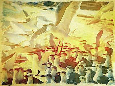 Photograph - Seagulls Everywhere by Alice Gipson