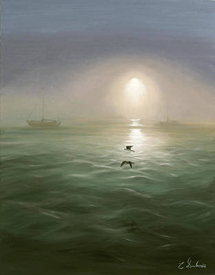 Seagulls In The Mist Art Print