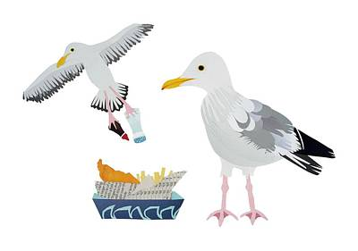 Gull Wall Art - Drawing - Seagulls by Isobel Barber