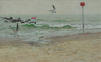 Painting - Seagulls On A Shore by Sergey Zhiboedov