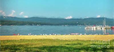 Painting - Seagulls On Lake Winnisquam by Mim White