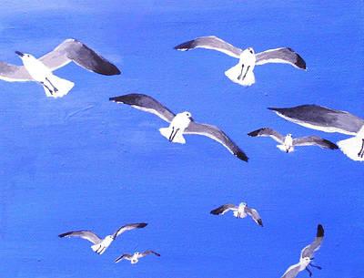 Seagulls Overhead Art Print by Anne Marie Brown