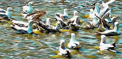 Photograph - Seagulls Squabbling Over Food by Dorothy Berry-Lound