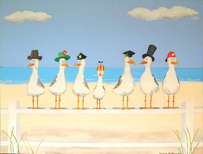Seagulls With Hats Original by Winton Bochanowicz