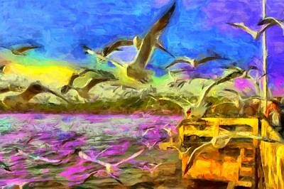 Digital Art - Seagulls by Caito Junqueira