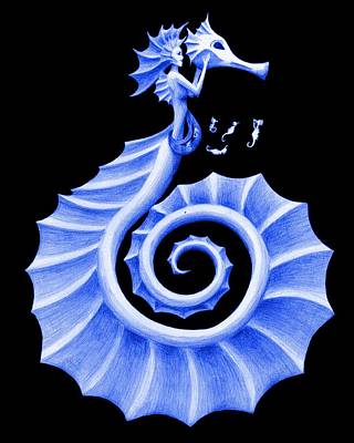 Fantasy Painting - Seahorse Amy Blue by Sarah Krafft