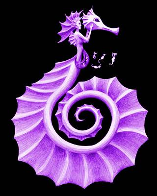 Fantasy Painting - Seahorse Amy Deep Purple by Sarah Krafft