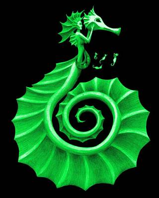 Fantasy Painting - Seahorse Amy Green by Sarah Krafft