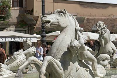 Seahorse And Putto In Piazza Navona I Print by Fabrizio Ruggeri