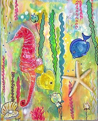 Wall Art - Painting - Seahorse And Starfish by Carol Iyer